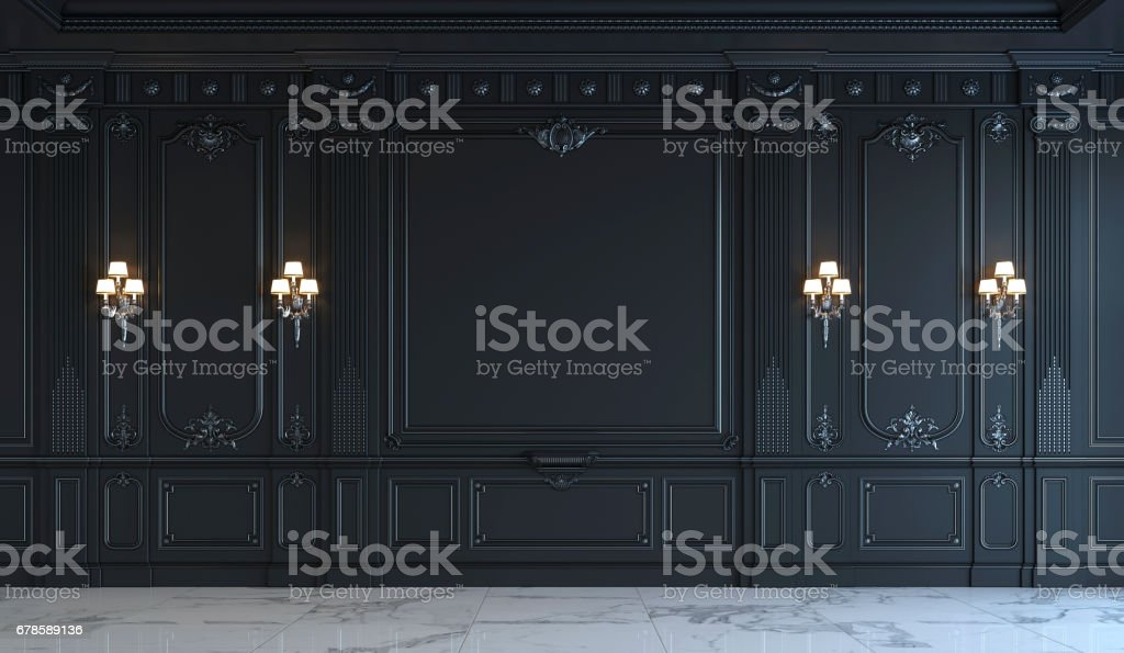 Black wall panels in classical style with silvering. 3d rendering stock photo
