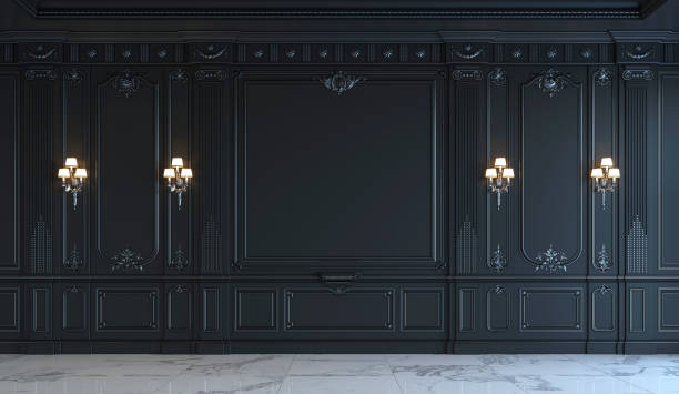 black wall panels in classical style with silvering. 3d rendering - baroque stock photos and pictures