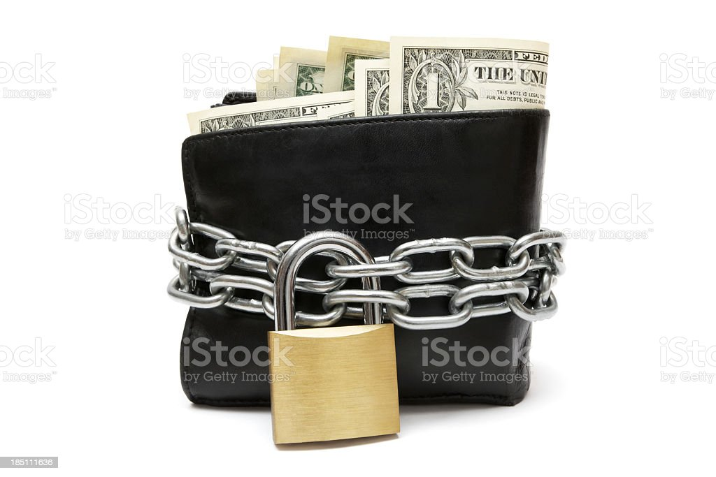 Black wallet with a lock and chain around it stock photo