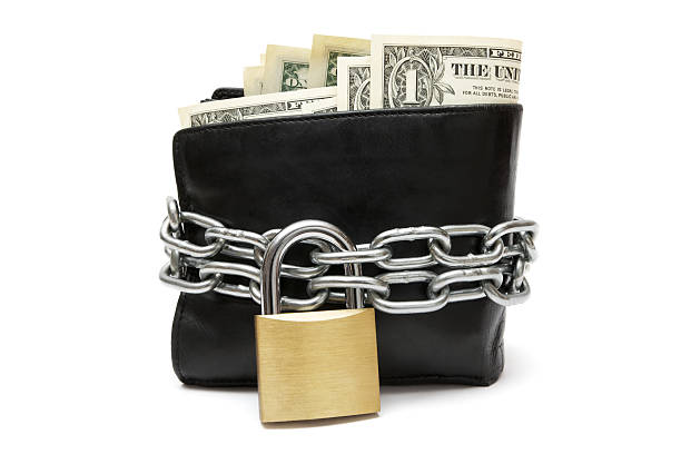 black wallet with a lock and chain around it - chain object stock photos and pictures