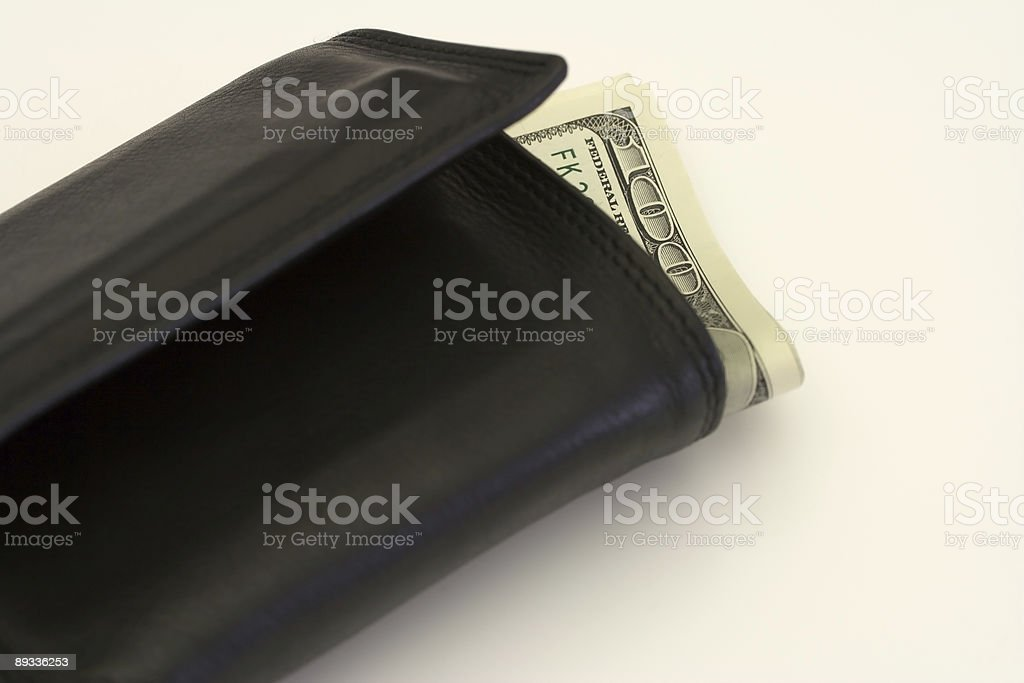 Black Wallet With Hundreds stock photo