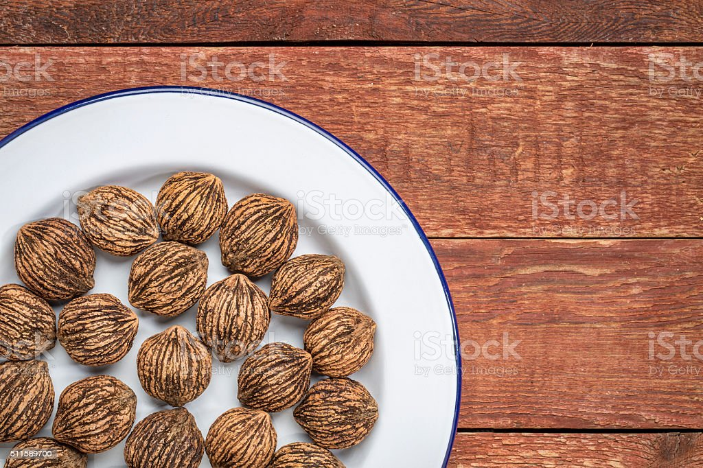black walnuts a white plate stock photo