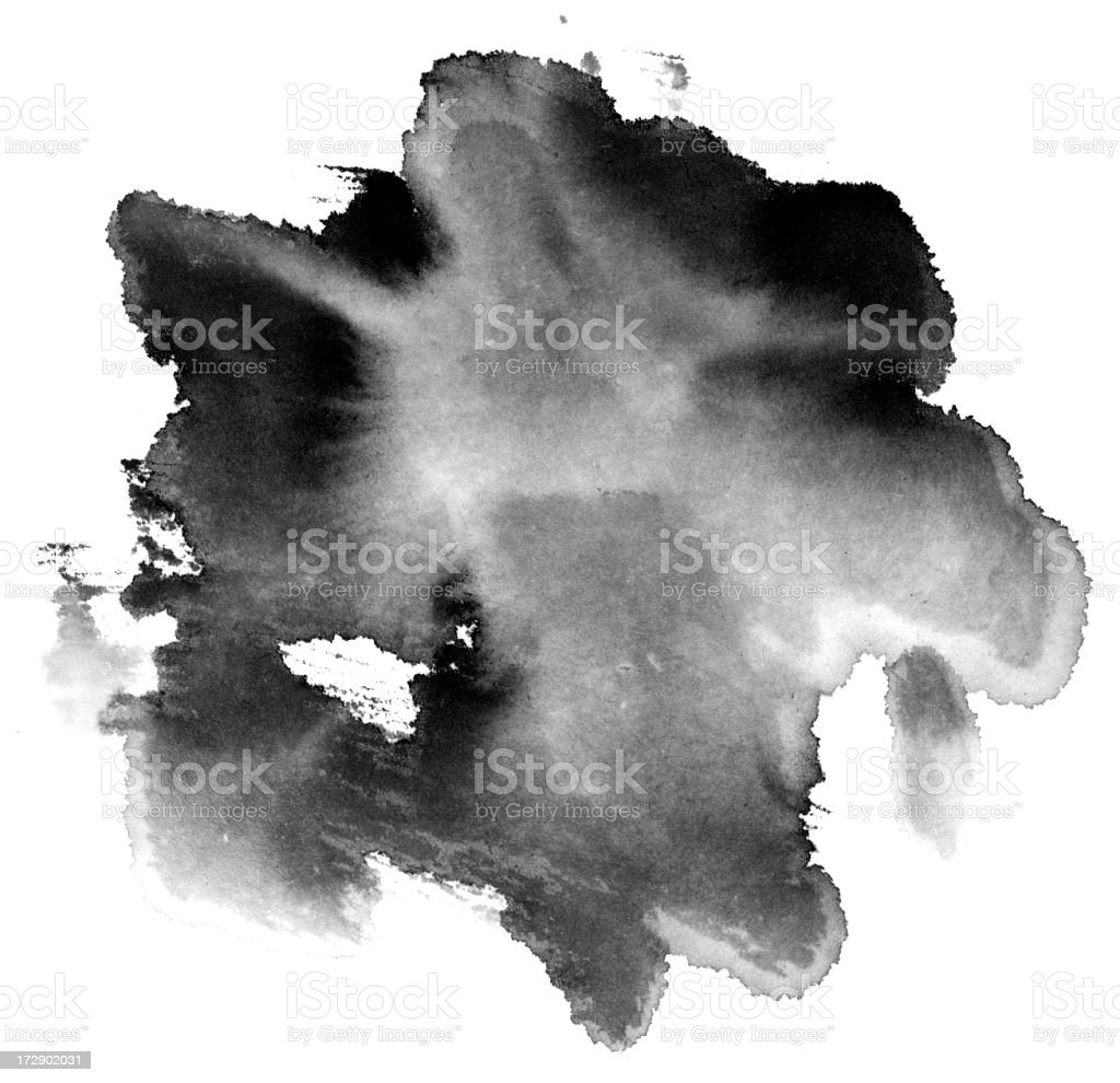 Black water coloring wash painting effect over white stock photo