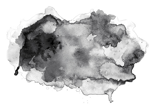 Black watercolor abstract with splashes on white watercolor paper. My own work.