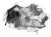 istock Black watercolor cloud on white 1066374310