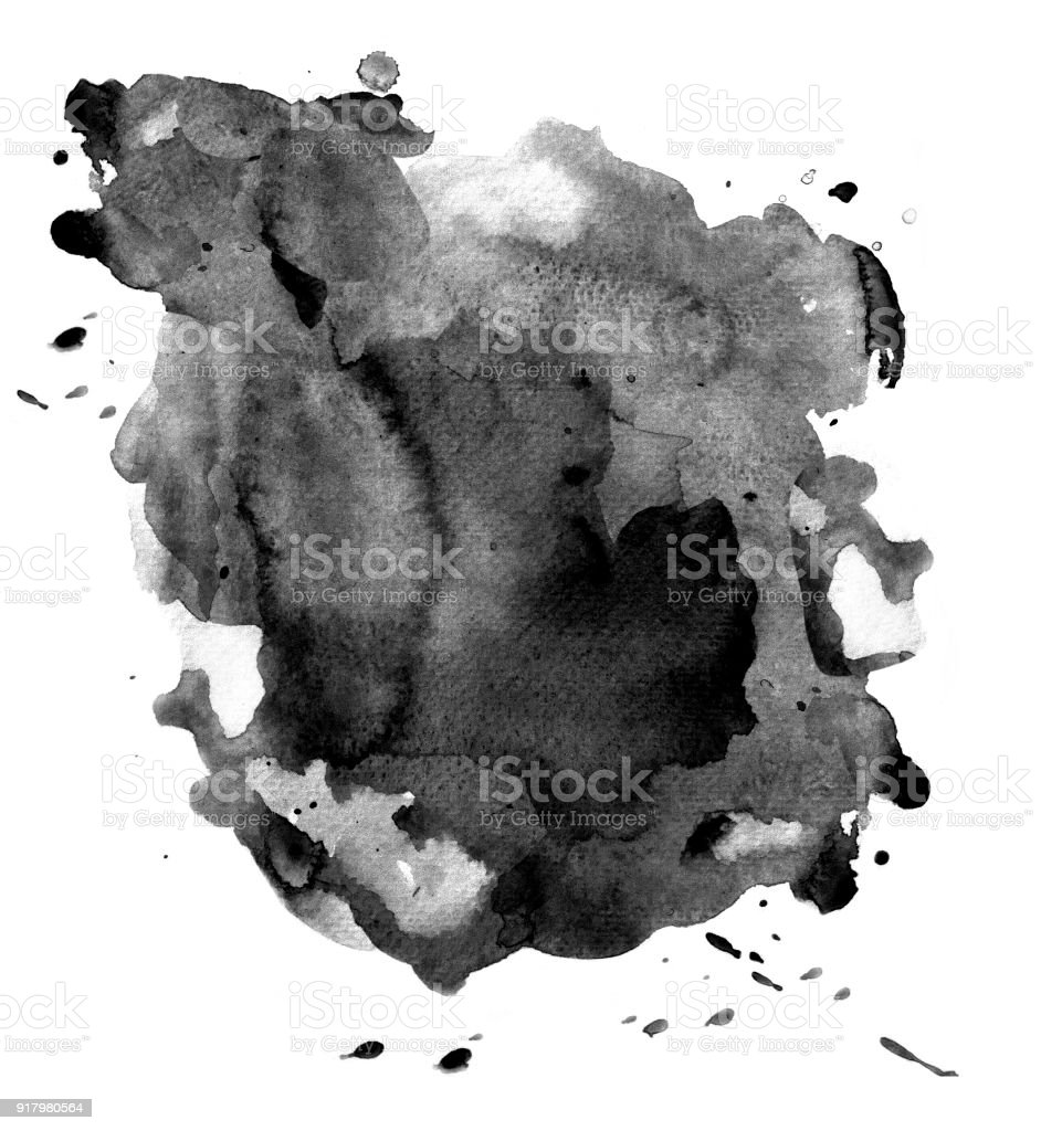 Black watercolor on white stock photo