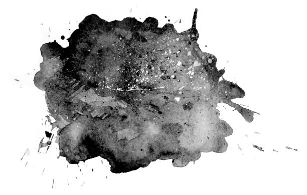 Black watercolor spot on white. Abstract cloud. Abstract drop of water. stock photo