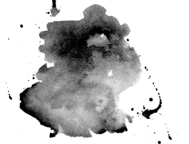 Schwarzer Aquarellfleck auf weiß – Foto