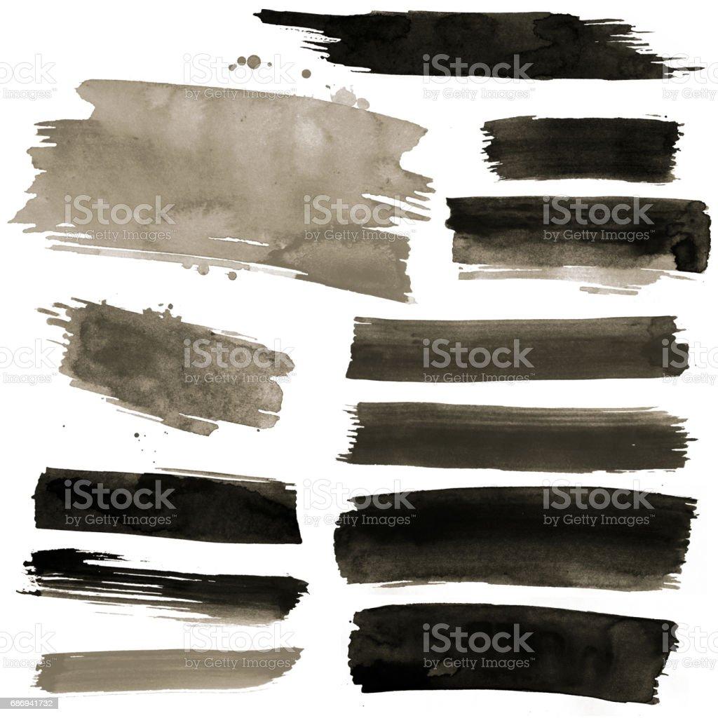 Pinceladas de aquarela preto - foto de acervo