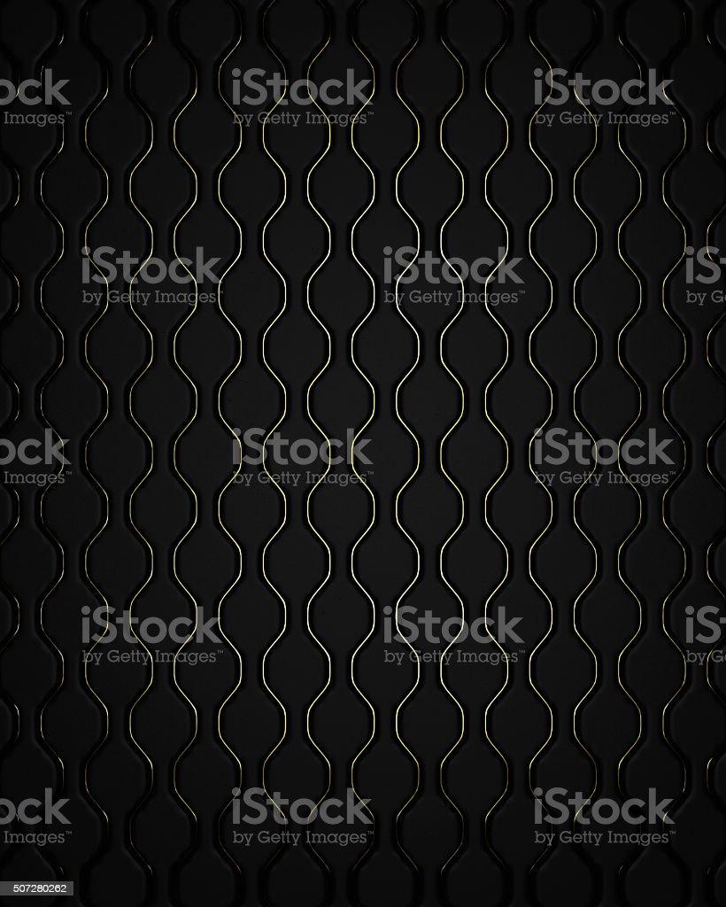 ブラックの波パターン guilted の背景ゴールドのトリム ストックフォト