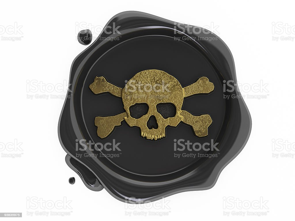 black wax pirates skulls symbol gold stock photo
