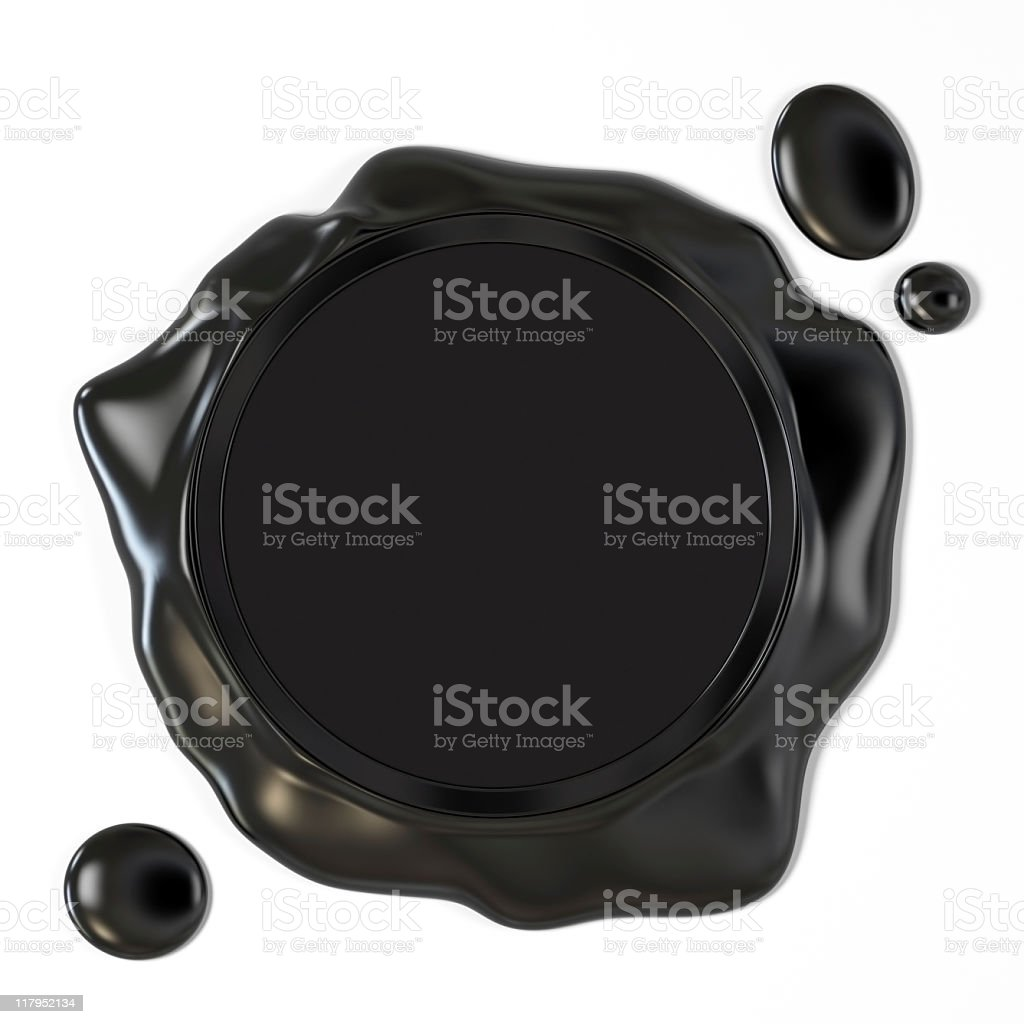 Black wax seal stock photo
