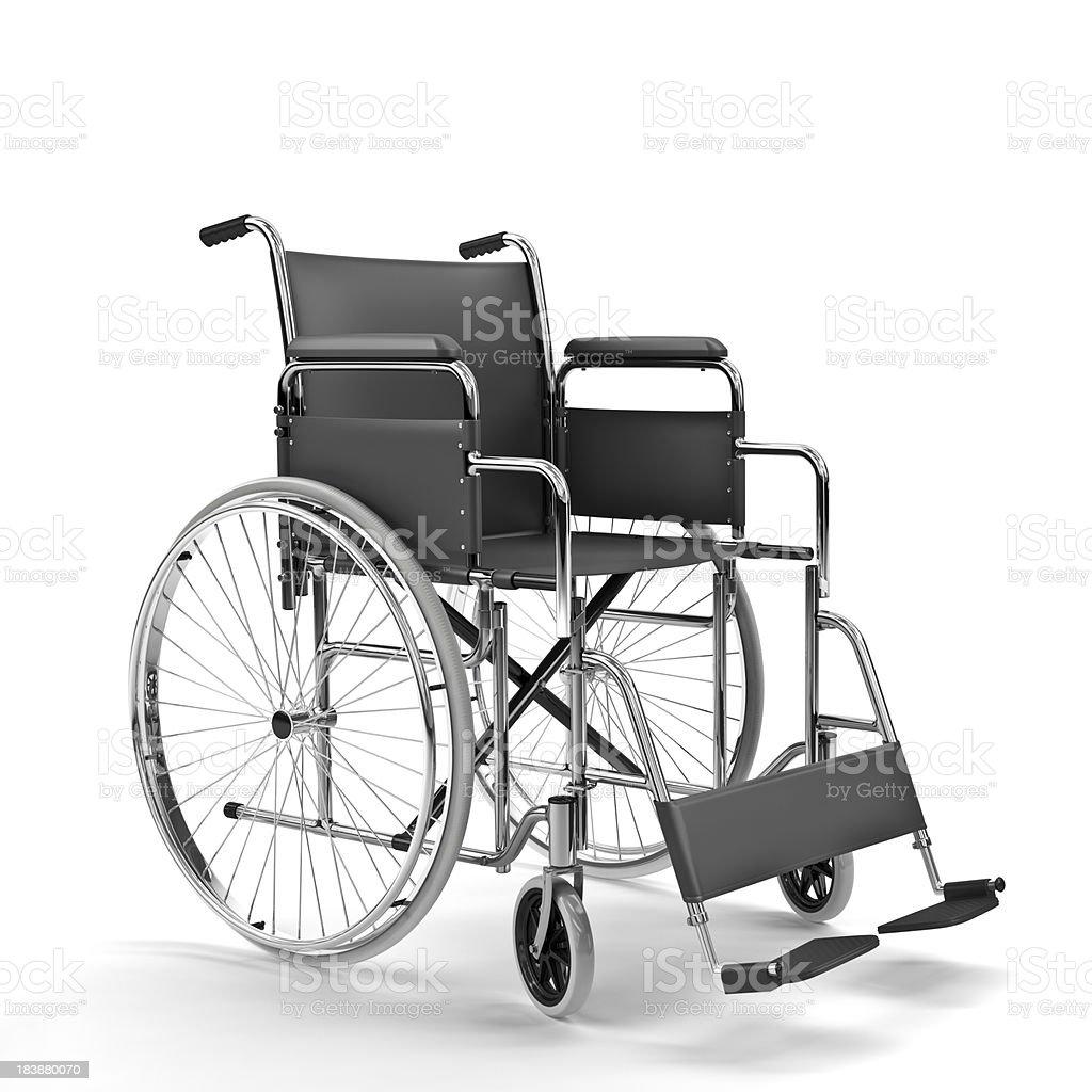 Black Wheelchair on White Background (XXXL) royalty-free stock photo