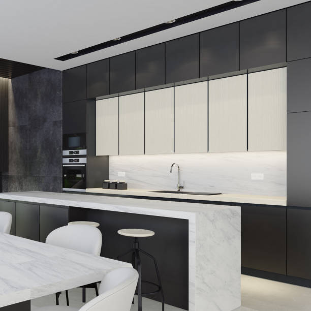 Schwarze, weiße und dunkelgraue moderne Küche – Foto
