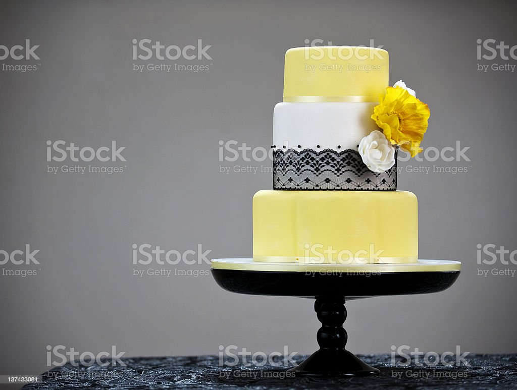 black white and yellow wedding cake royalty-free stock photo