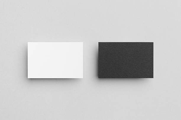 black & white business card mock-up (85x55mm) - business card stock photos and pictures