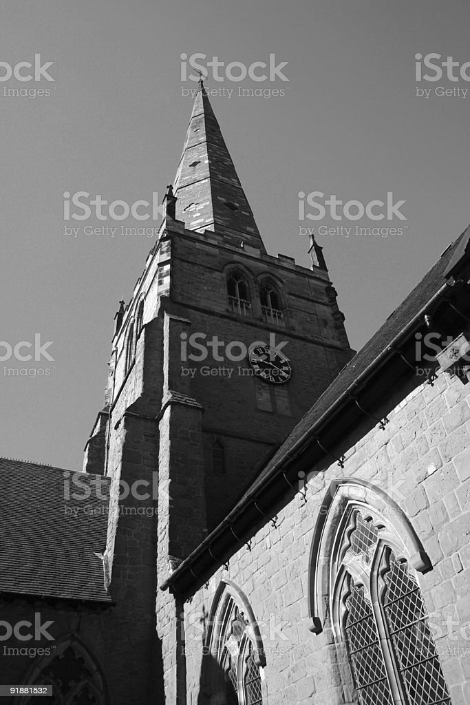 Black & White Church Steeple stock photo