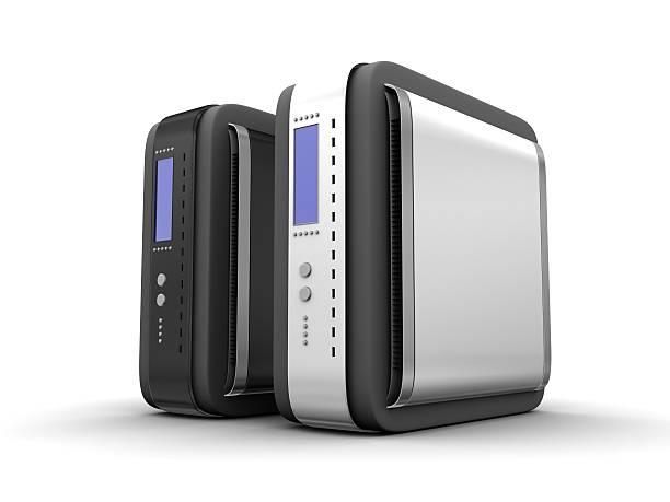 black & weiß computer-server 06 - cd ständer stock-fotos und bilder