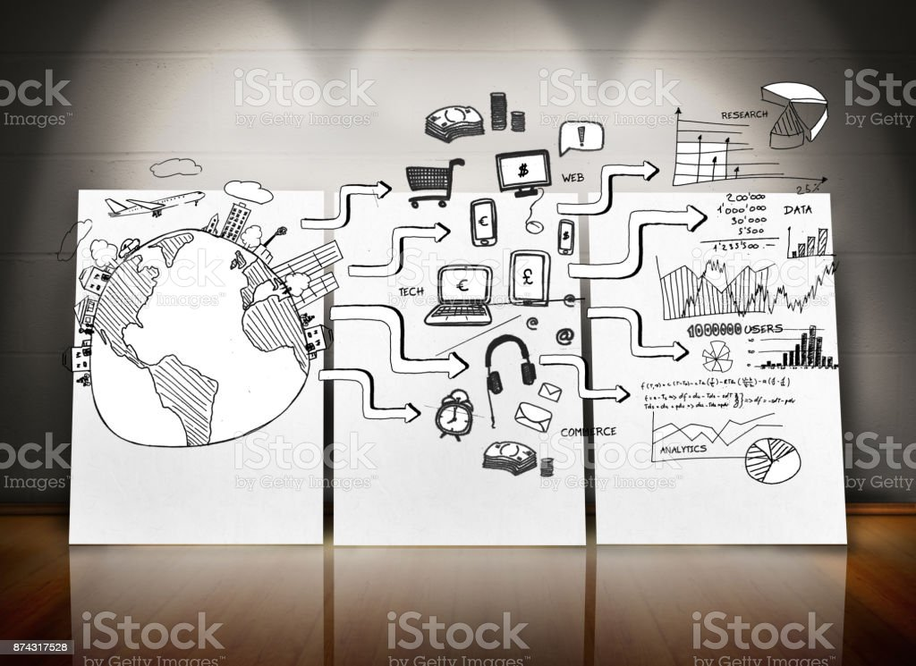 Black white graphic in room with screens stock photo