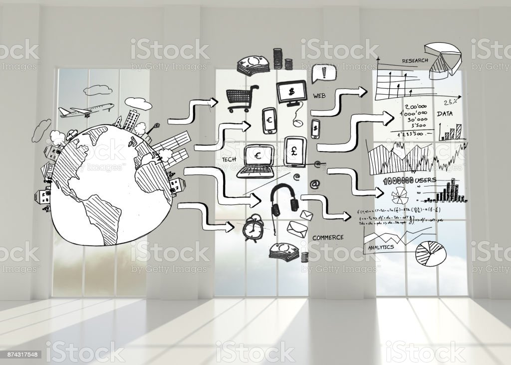 Black white graphic in room with windows stock photo
