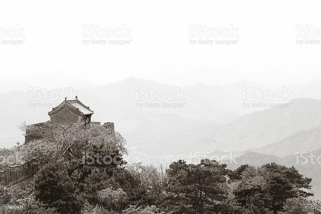 Black White Guard Tower on Mutianyu, Great Wall, China royalty-free stock photo