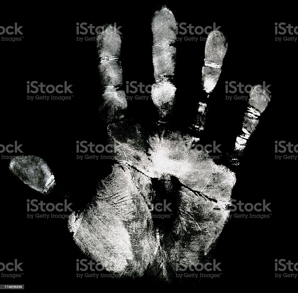 White hand with black background - High detail