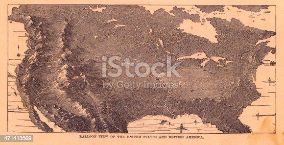 istock Black & White Illustration, Balloon View of North America, 1867 471413569