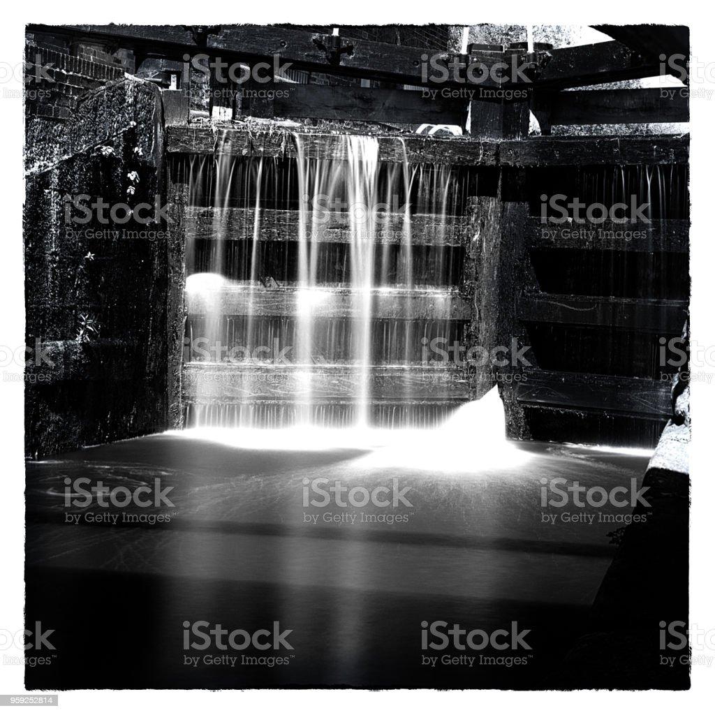 Black & White Lock Gates stock photo