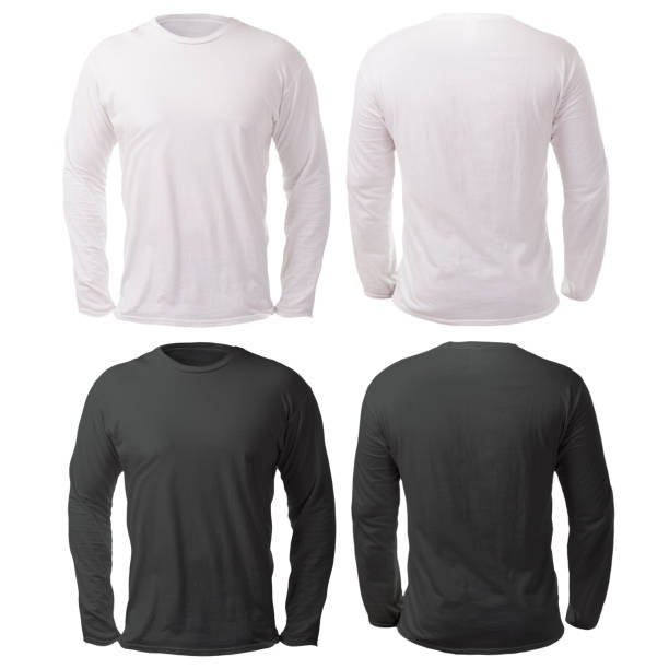 Black White Long Sleeved Shirt Design Template Blank long sleeved shirt mock up template, front and back view, isolated on white, plain black and white t-shirt mockup. Tee sweater sweatshirt design presentation for print. long sleeved stock pictures, royalty-free photos & images