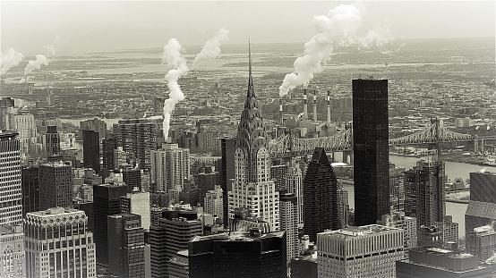 Black & White Manhattan Skyline In Midtown, New York, Vintage