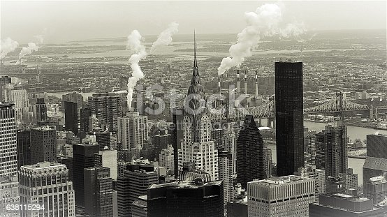 Black & White Manhattan Skyline In Midtown, New York, Vintage