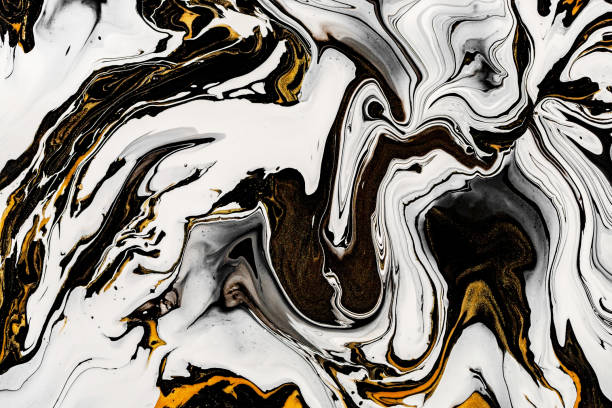 Black, white marble texture with golden lots of bold contrasting veining. Applicable for create surface marbled effect. Design for packaging, brochure, poster, wallpaper, textile, decor interior. Black, white marble texture with golden lots of bold contrasting veining. Applicable for create surface marbled effect. Design for packaging, brochure, poster, wallpaper, textile, decor interior marbled effect stock pictures, royalty-free photos & images