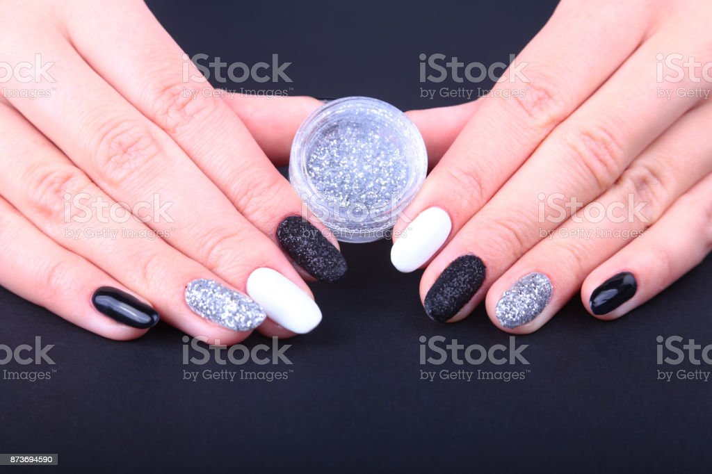 Black White Nail Art Manicure Holiday Style Bright Manicure With ...