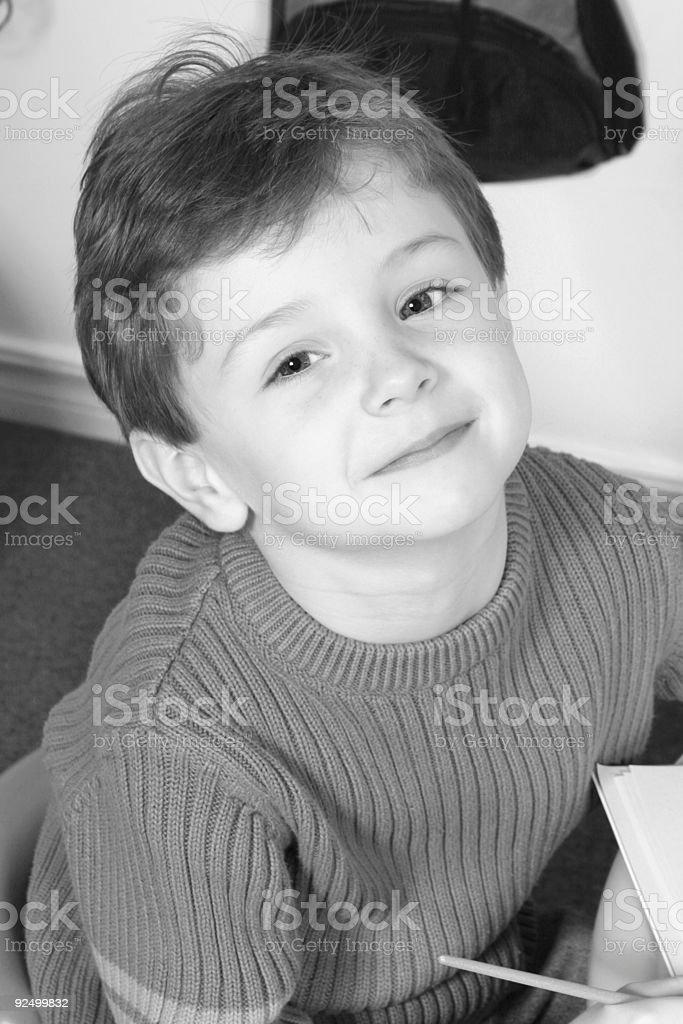 Black & White of Adorable Four Year Old Boy royalty-free stock photo
