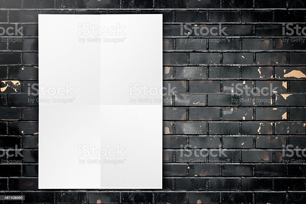 Black White Paper Poster Hanging At Grunge Black Brick Wall Stock ...
