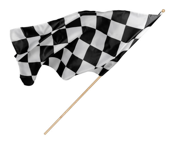 black white race chequered or checkered flag with wooden stick isolated background. motorsport racing symbol concept - formula 1 стоковые фото и изображения