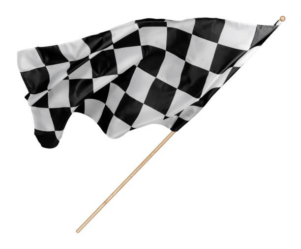 Schwarz weiß Rasse kariert oder kariert Flagge mit Holzstab isoliert Hintergrund. Motorsport-Rennsymbol-Konzept – Foto
