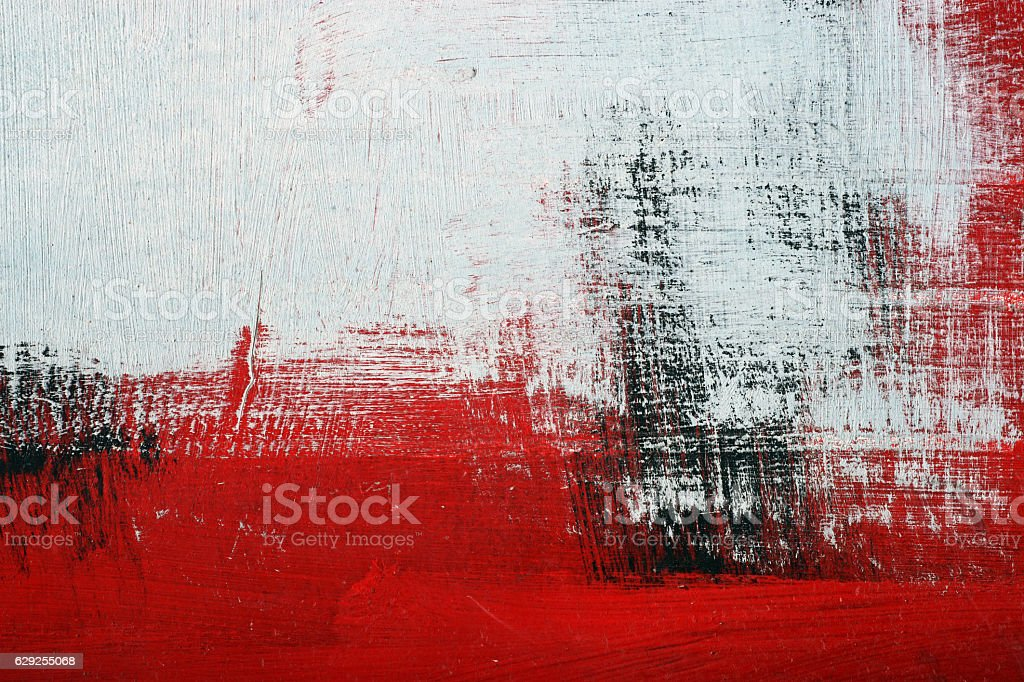 Black, white, red acrylic paint on metal surface. Brushstroke 2 - foto de acervo