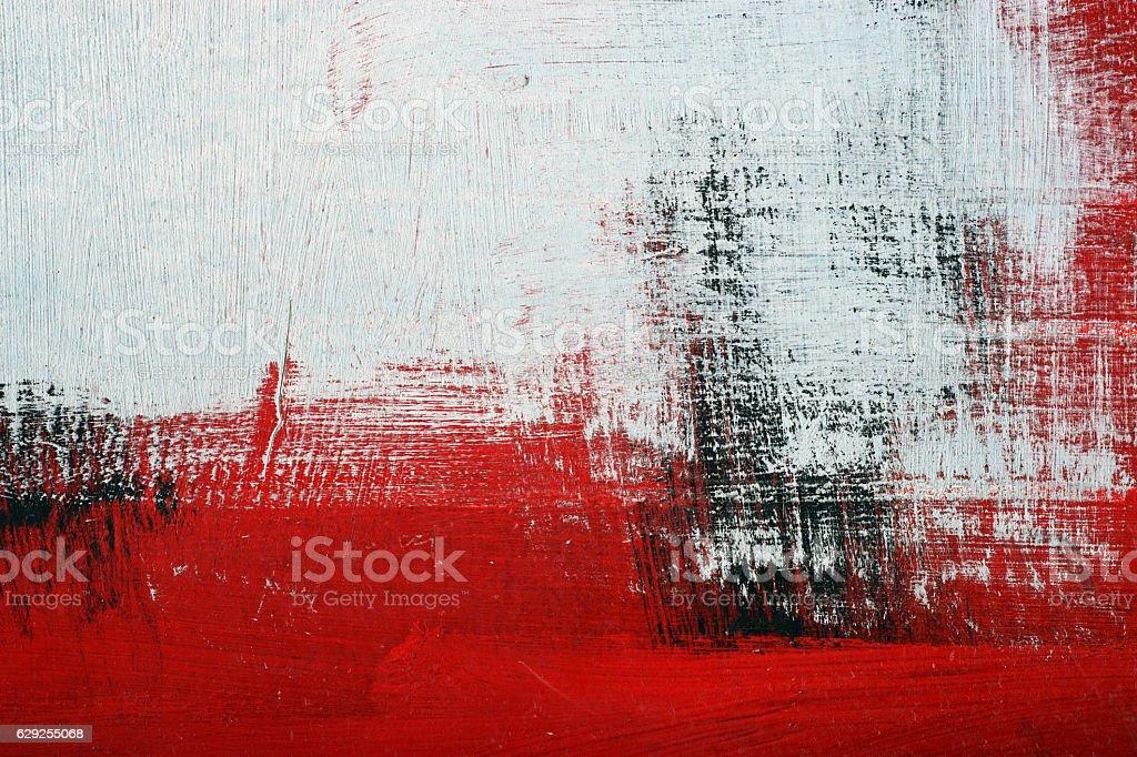 Black, white, red acrylic paint on metal surface. Brushstroke 2 stok fotoğrafı