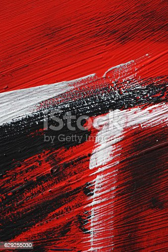 629255068 istock photo Black white red acrylic paint on metal surface Brushstroke 3 629255030