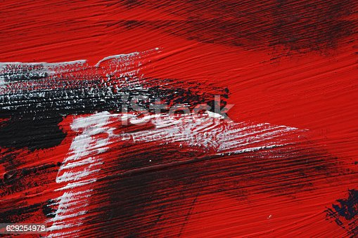 629255068 istock photo Black white red acrylic paint on metal surface Brushstroke 4 629254978