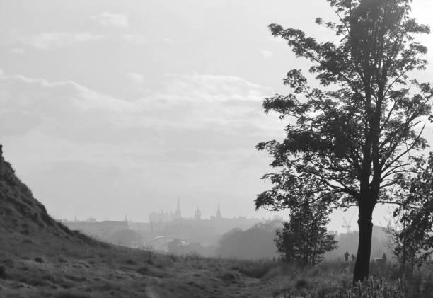 Black & white scene in Edinburgh stock photo