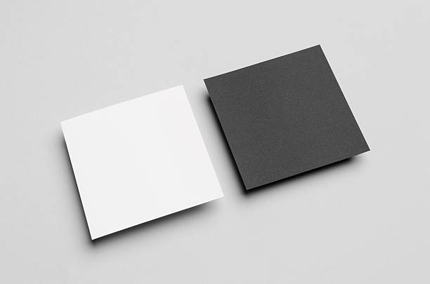 black & white square flyer / invitation mock-up - square stock pictures, royalty-free photos & images