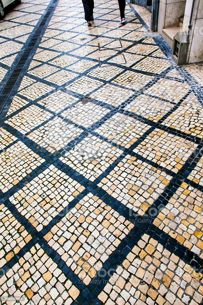 Black White Street Tiles Medieval City Coimbra Portugal foto royalty-free