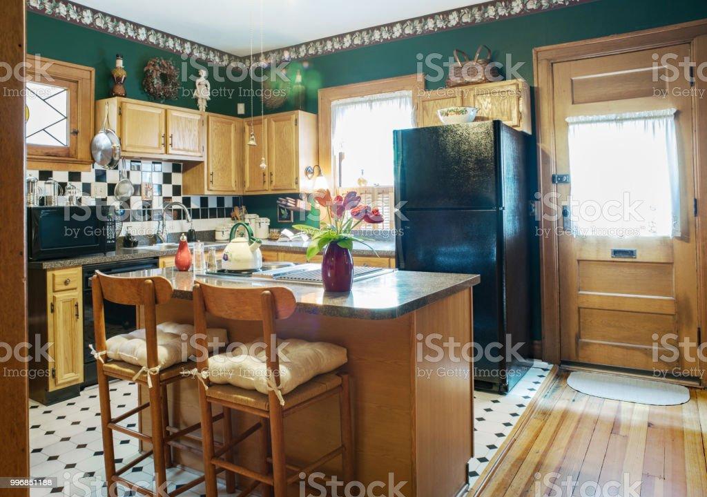 Black White Theme In Green Victorian Kitchen Stock Photo Download Image Now Istock