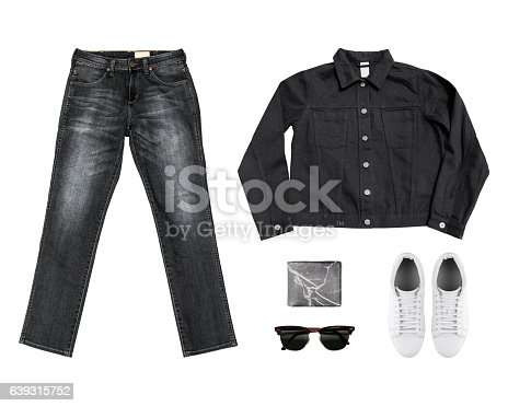 917262406istockphoto Black& White Tone Man's clothing collections (jean,wallet,sungla 639315752