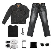 Black& White Tone Man's clothing collections isolate on white(shirt,jean,wallet,watch,sunglasses,phone,jacket,shoe) with clipping path
