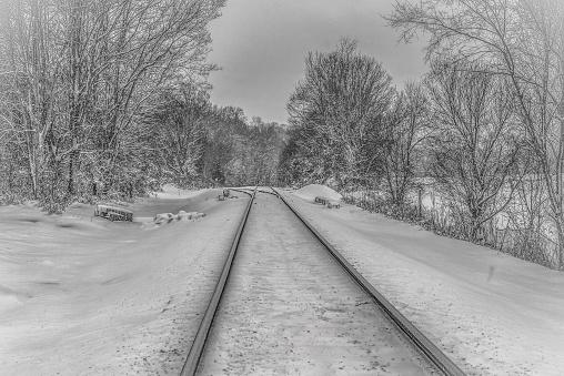 Black White Train Tracks In Snow Stock Photo - Download ...