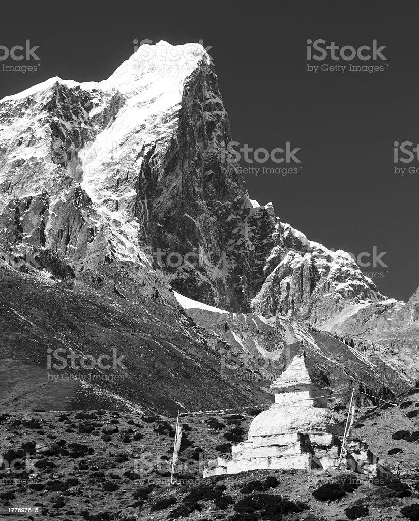 black white view of Tabuche Peak and stupa royalty-free stock photo