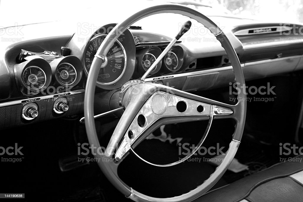Black & white - Vintage car dash board stock photo